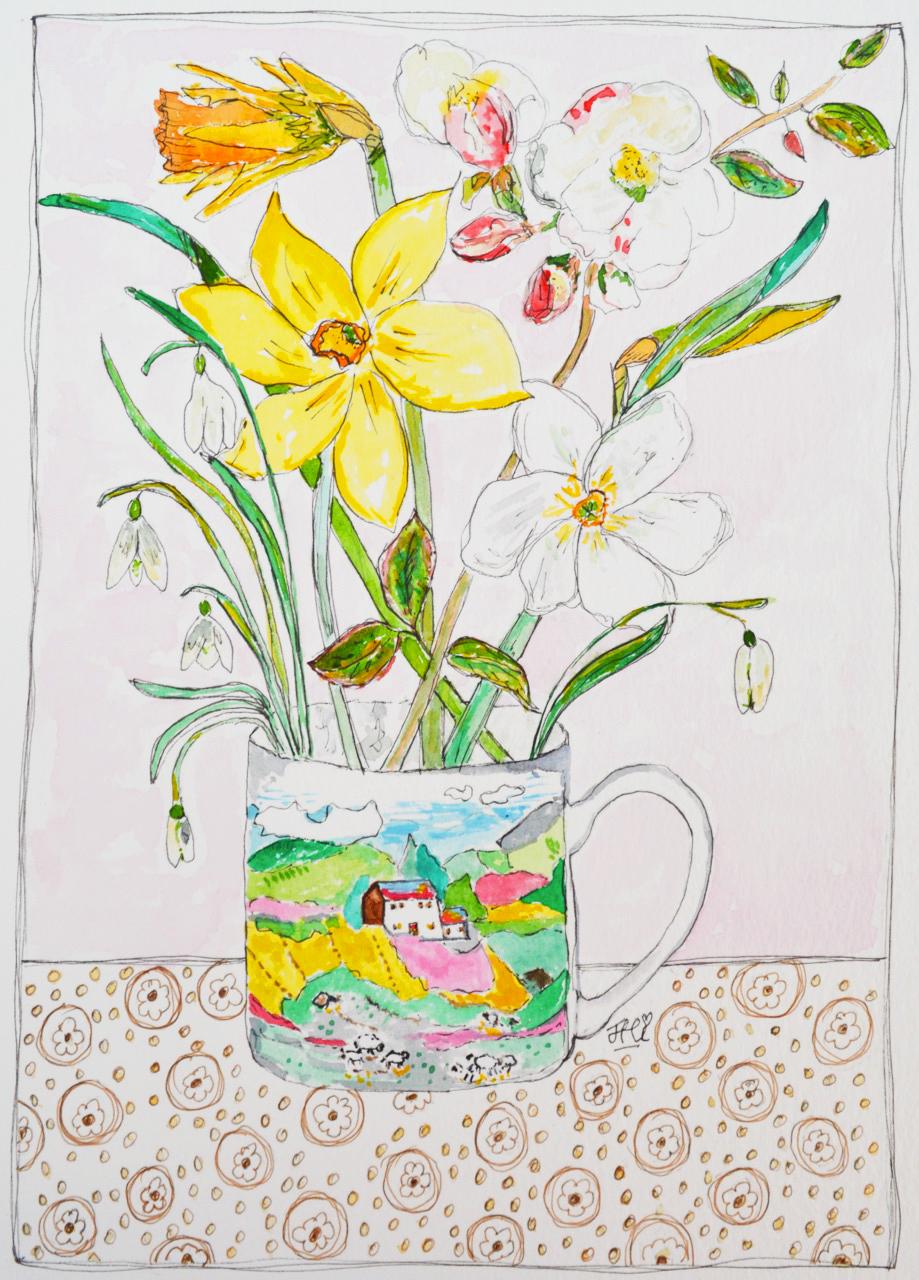 landscape mug + flowers print