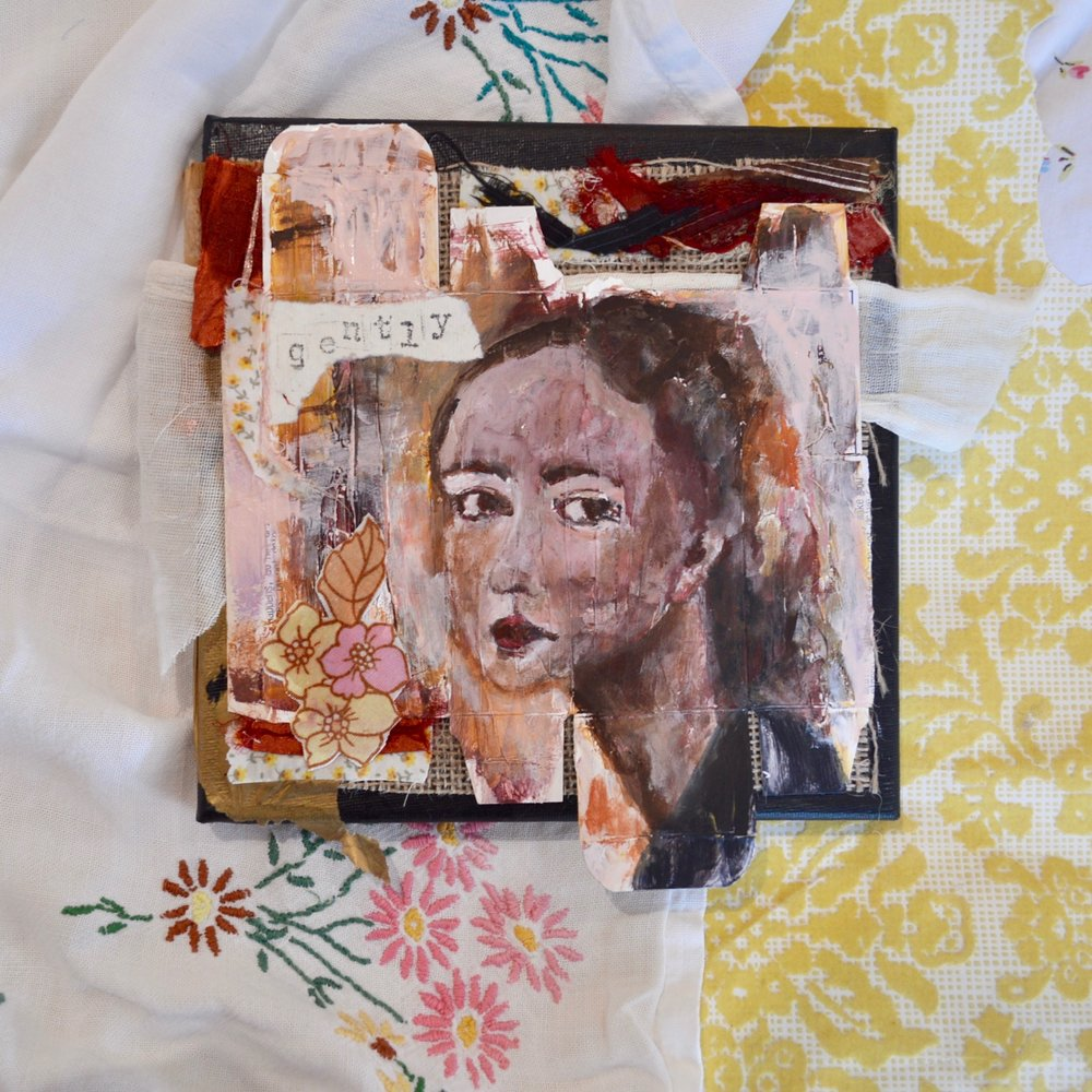 Gently - mixed media collage