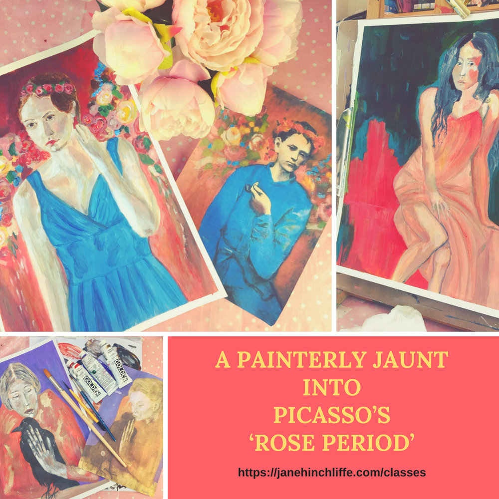 Picasso - Rose Period - Everyone has heard of Picasso's 'blue period' but not everyone is familiar with his 'rose period' and I'd like to change that. I've been utterly captivated by Picasso's paintings from this brief moment in time and felt compelled to dive in and lose myself in the colours he chose, the mood and his compositions.In addition, I've been fascinated to learn a little of what led up to this dramatic change of colour palette for Picasso - it's helped me to understand his work in a deeper and more meaningful way.I do hope you'll join me…