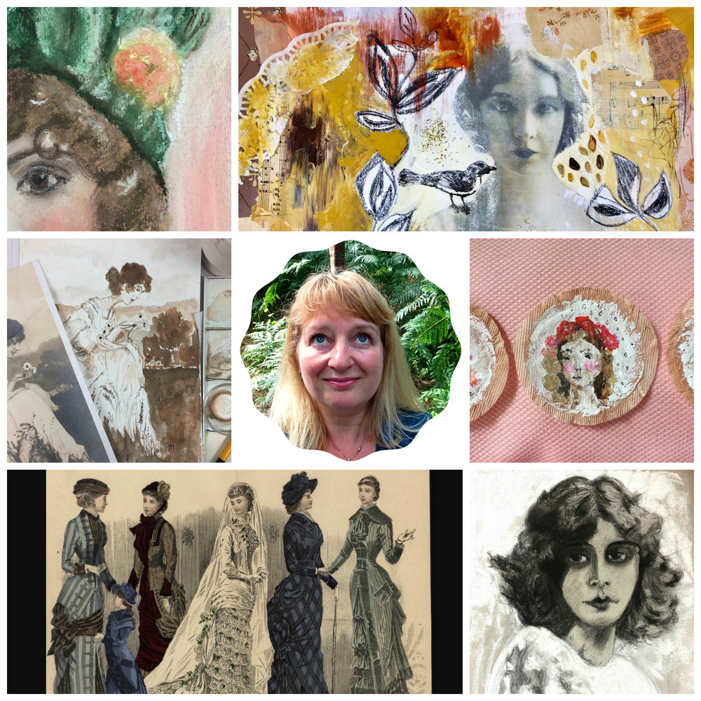 Portraits In Time - Do you adore portraiture and all things vintage? In this class, you'll be creating three portraits, pretty and expressive 'tea bag' portraits, together with a (bonus) mixed media piece. Not too sure how to use charcoal, soft pastel or watercolour - no problem, I also share hints and tips for each.There's more - an art history slideshow/presentation and a little delve into the lives of some inspiring women from this era.After purchase, you will receive an email with details on how to access the private classroom.