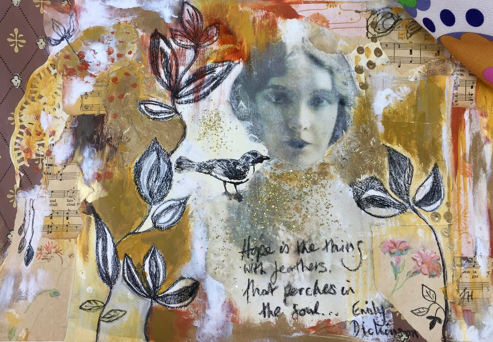 Bonus Project -Mixed Media on Paper - For those of you who haven't experimented with photo transfers, here's your chance to open up a whole new dimension and vista to your projects.From this foundation, we will create an intuitive, loose and meaningful mixed media piece using ephemera, mark making techniques and acrylic paint etc.