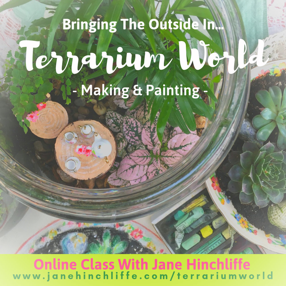Terrarium World - Nature is so restorative and helps bring a feeling of calm and wonder to our lives…I'm fascinated with terrariums - these little tiny micro worlds and how they enable us to experience a little of the outdoors, indoors.Let me show you, from beginning to end, how to create both a 'closed' and 'open' terrarium and then have fun 'customising' your creation with paint.Not only that, let's explore mixing greens, create fern themed fridge magnets, paint a beautiful watercolour succulent and experience delight whilst creating a soft pastel painting featuring succulents and shells.