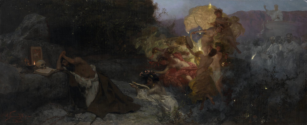 Henryk Siemiradzki (Polish/Ukrainian, 1843–1902), The Temptation of St. Jerome, ca. 1886, oil on canvas, 74.5 x 179.5 cm.