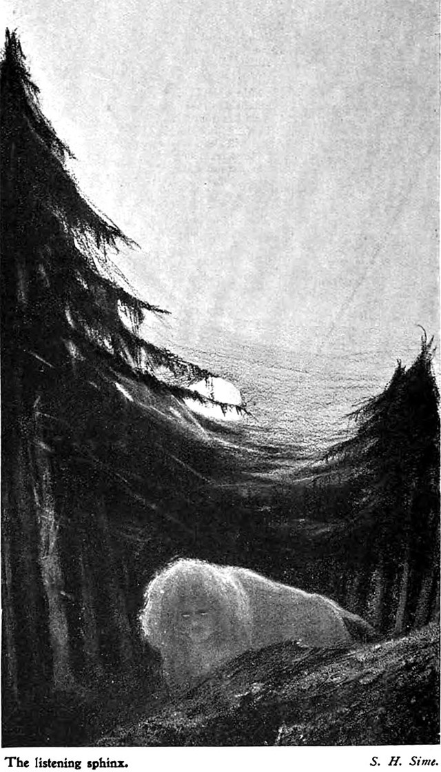 """The Listening Sphinx by S.H. Sime.""  An illustration from a 1900 issue of The Idler magazine."
