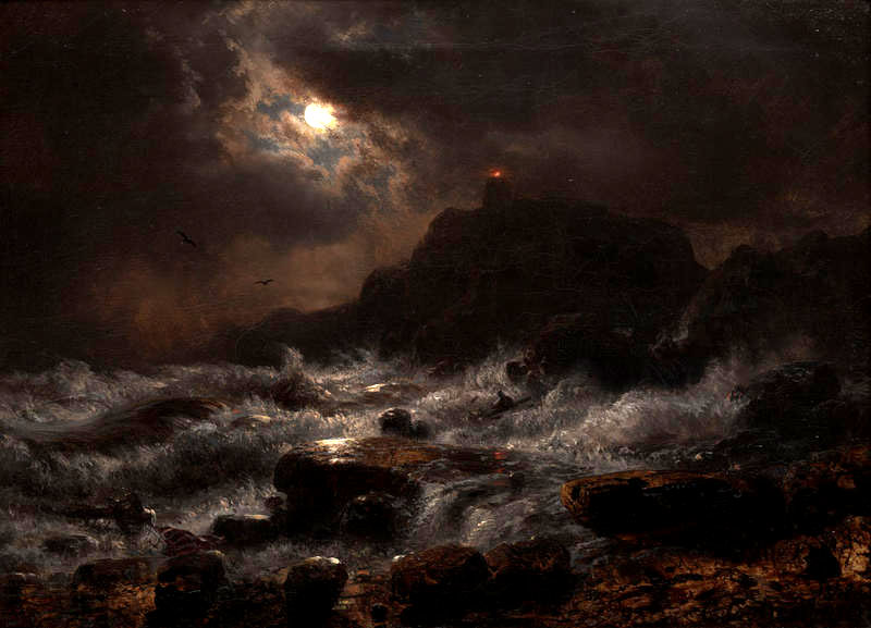 Norwegian Coast by Moonlight, 1848 - Andreas Achenbach