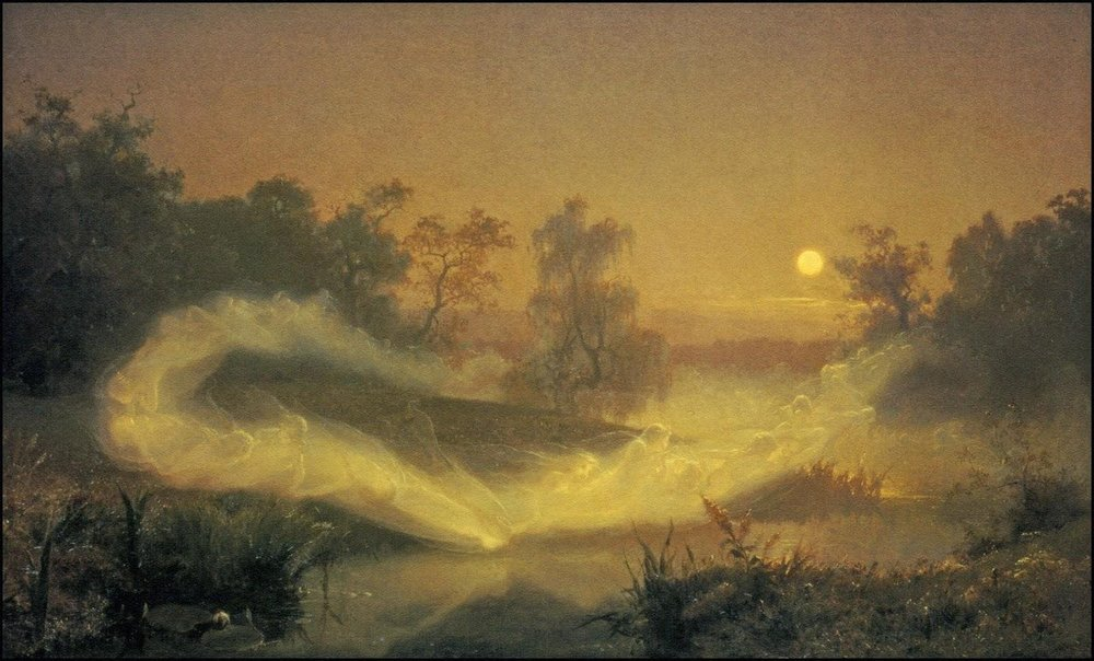 August Malmström  (1829–1901), Swedish: Älvalek Dancing Fairies, 1866, oil on canvas, (35.43 in x 58.66 in).