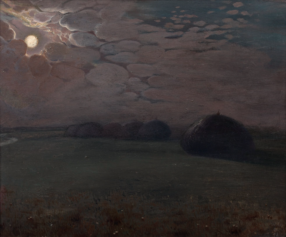 William Degouve de Nuncques (Belgian, 1867-1935), Meules dans un champ au clair de lune [Haystacks in a field by moonlight]. Oil on canvas mounted on panel, 39 x 47 cm.