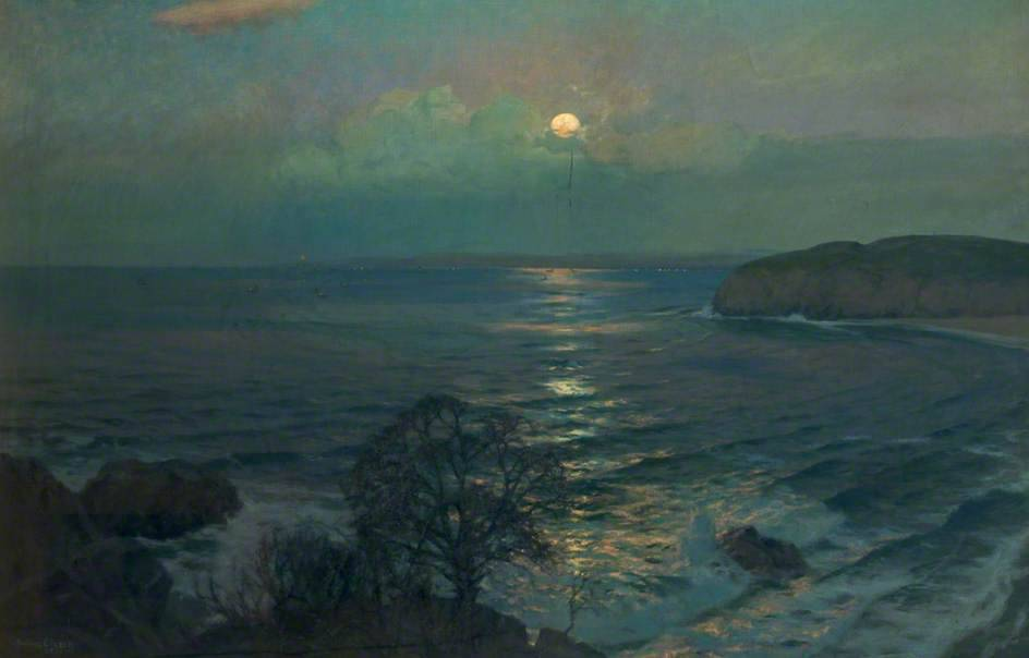 "Albert Julius Olsson, ""Rising Moon, St Ives Bay, Cornwall"""