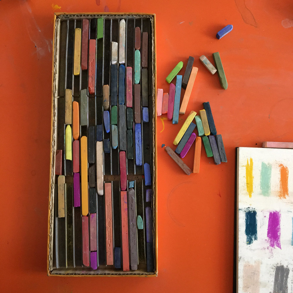 Elaine still uses her great-grandmother's oil pastels from the 1950s.