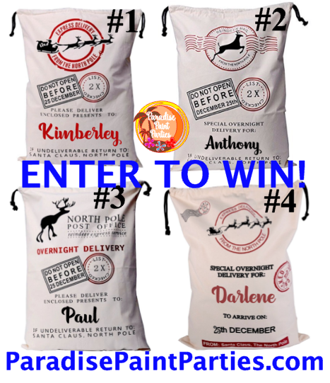 Personalized Santa Sack Giveaway on ParadisePaintParties.com #christmas #giveaway #win #personalized #gift #wrap #children #kids