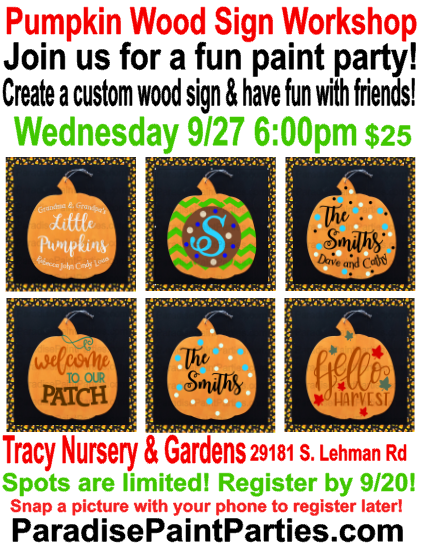 Pumpkin Wood Sign Workshop ParadisePaintParties.com
