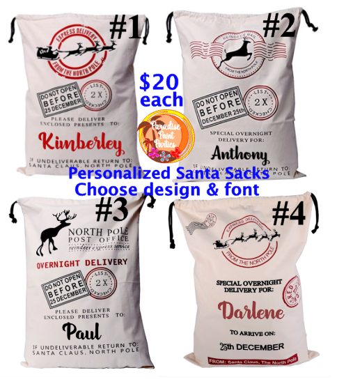 Personalized Santa Sacks Order at ParadisePaintParties.com