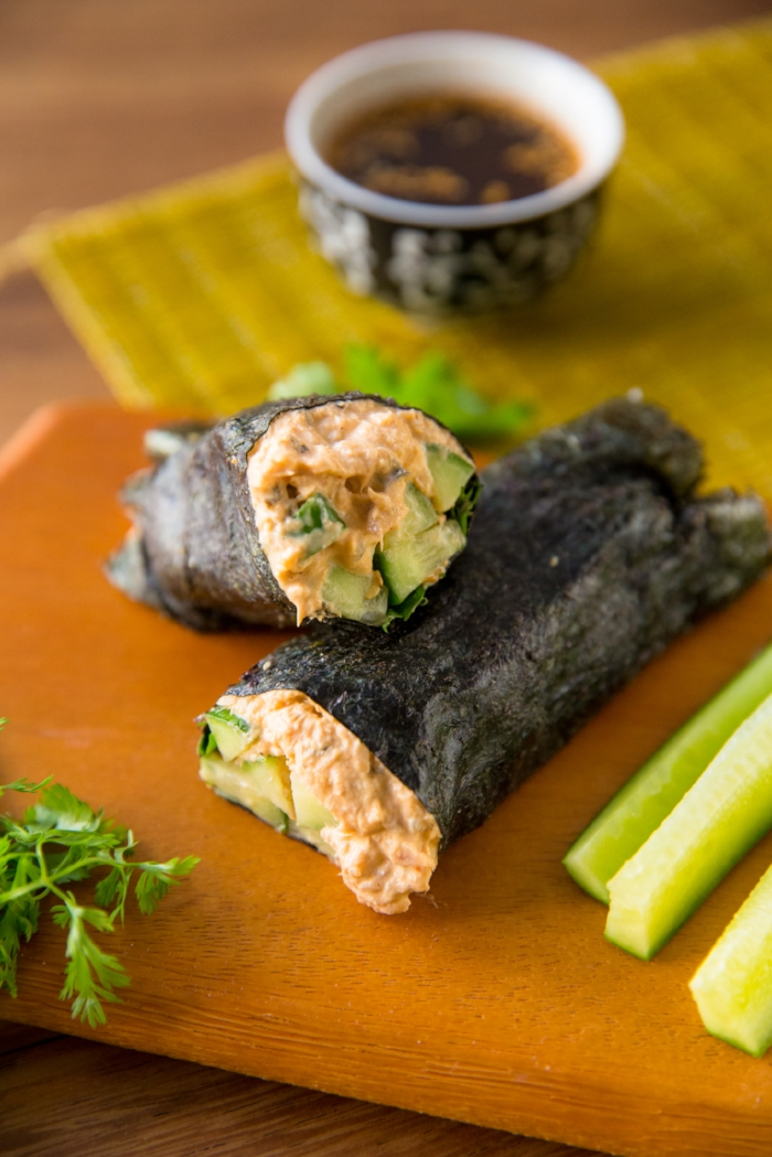 Salmon Nori Rolls - I recommend consumption of an Omega-3 fatty fish 2 times a week as part of a healthy diet. Salmon is an easy and obvious choice. In addition to brain and heart-healthy Omega-3s, it's a great source of protein, B vitamins, selenium-- just to name a few of the nutrients. Several studies have found that eating more salmon helps reduce markers of inflammation in people at risk for certain chronic diseases. This recipe is just as tasty as it is good for you, and like most of my dinner recipes, it's very easy to make.