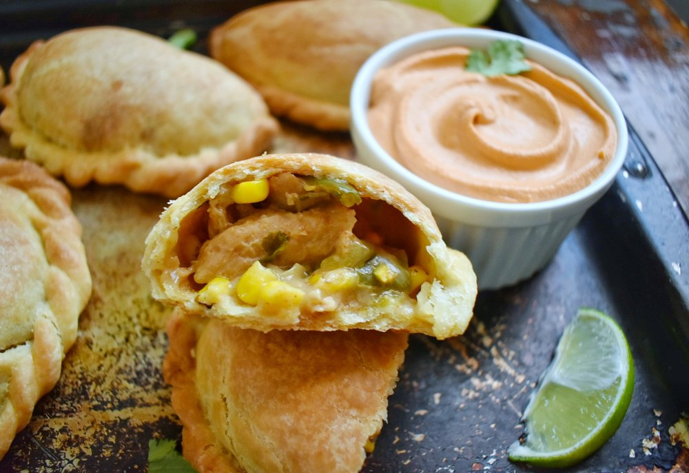 Vegan Green Chile and Corn Empanadas - The Bitchy Baker