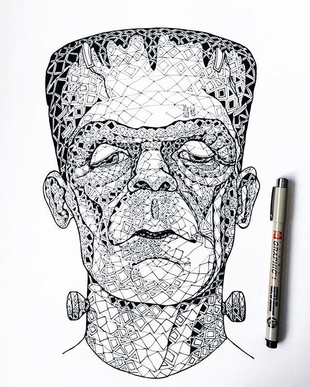 Happy Halloween!! 🧟♂️ (Officially made 31 drawings in 31 days, now pass me the candy!) . . . #happyhalloween #halloween #frankenstein #inktober #inktober2018 #october #drawtober #proudofmyself #pen #ink #art #illustration #illustrator #drawing #maryshelley #sketch #minneapolis #minnesota #halloweendecor #blackandwhite