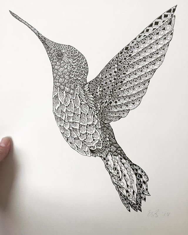 Hummingbird. I drew this before the craziness of inktober. And I love it. Prints are already available at markets but look for it in the online shop by the end of the week! . . . #hummingbird #art #drawing #illustration #illustrator #freehand #printsforsale #minneapolis #minnesota #blackandwhite #artist #etsyseller #penandink #micron #geometricart #etsyshop