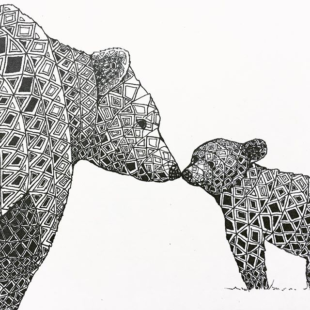 (Sigh) I will always love this 💕 - - - #mamaandbaby #bears #nursery #nuserydecor #love #drawing #illustration #mplsartist #blackandwhite #geometric #illustrator #artistsoninstagram #art #penandink