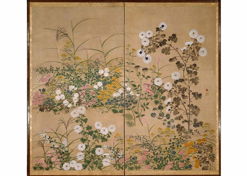 Ogata Korin, Flowering Plants in Autumn