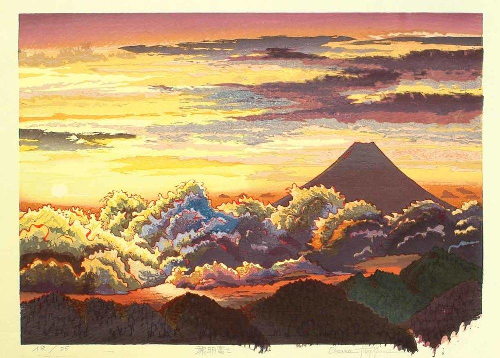 ©  Artelino , Sunrise over Mt Fuji, Woodblock Print by Morozumi Osamu