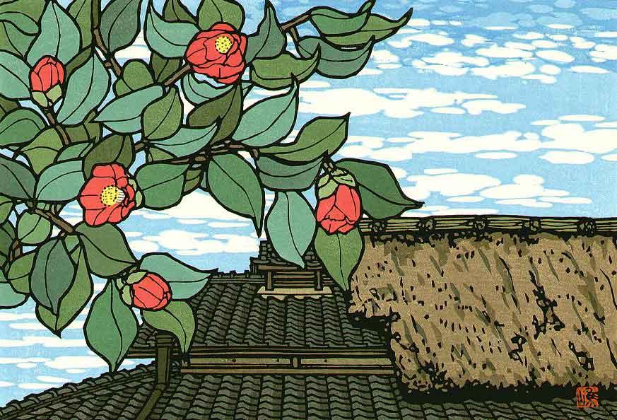 © Katsuyuki Nishijima, Camellia in Yoshino, Woodblock Print, 2005