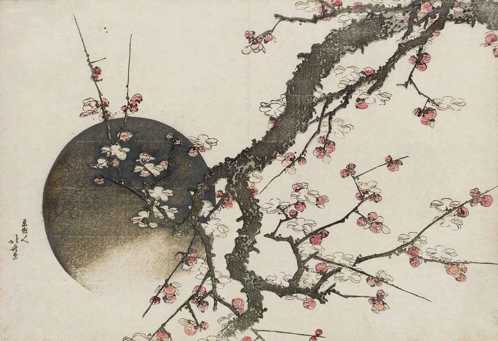 Plum Blossom and the Moon, Woodblock Print by Katsushika Hokusai, 1803