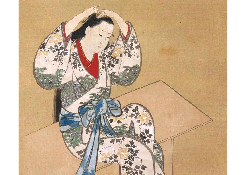 Detail of Courtesan Sitting on a Bench, Painting by Miyagawa Choshun, Museum of Fine Arts, Boston