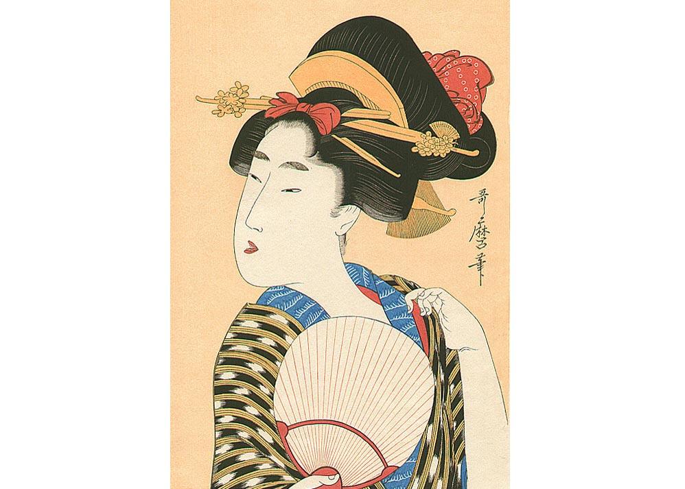 Woman with a Fan, Woodblock Print by Kitagawa Utamaro