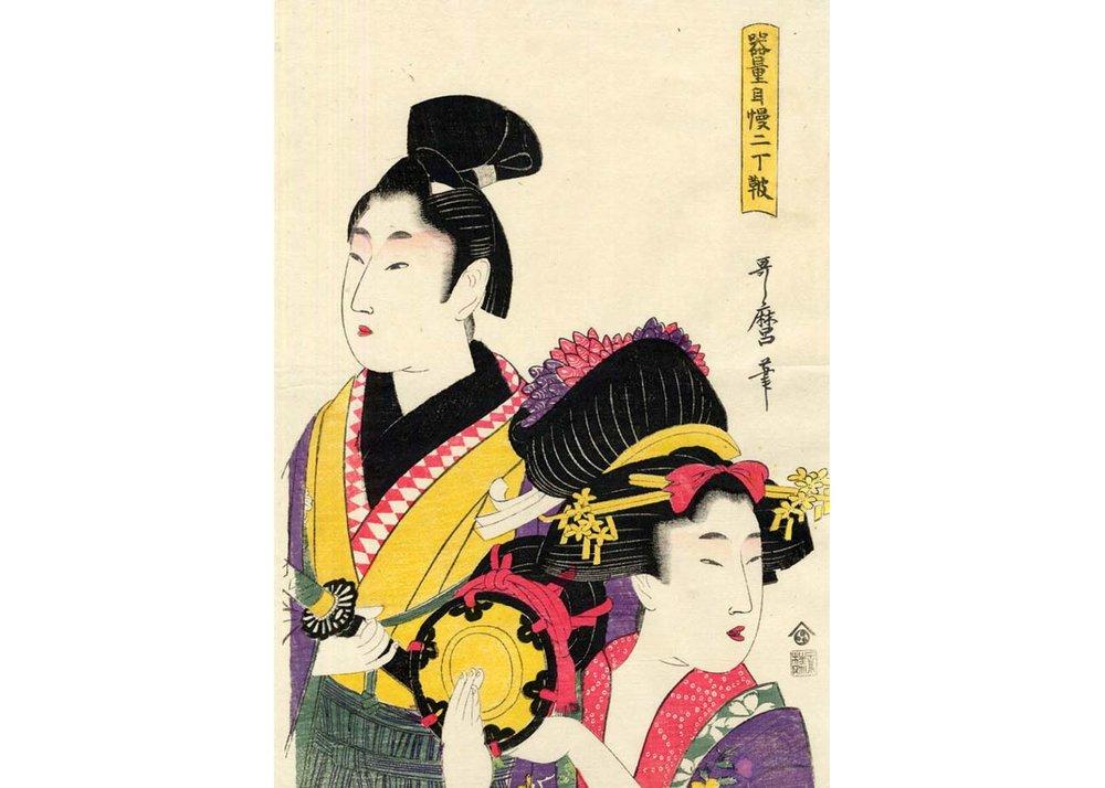 Samurai and Courtesan, Woodblock Print by Kitagawa Utamaro