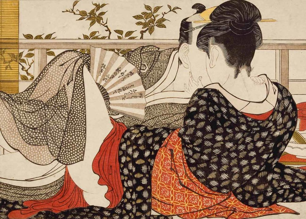 Lovers in the Upstairs of a TeahouseWoman with a Fan, Woodblock Print by Kitagawa Utamaro