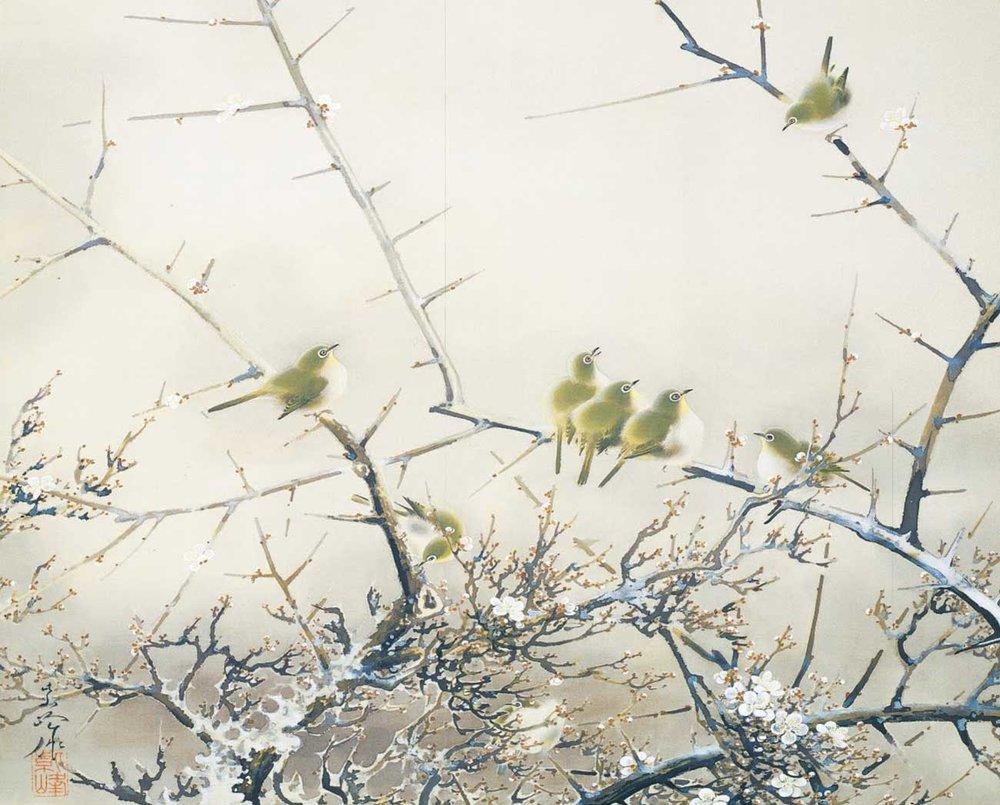© Shiho Sakakibara, Japanese White-Eye and Plum Blossoms, 1939,  Adachi Museum of Art