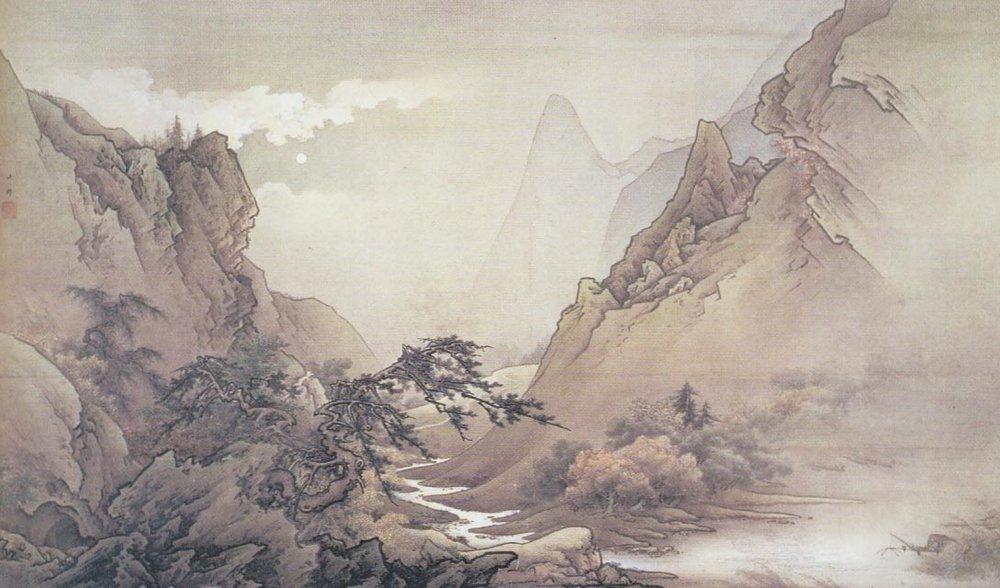 Gaho Hashimoto, Moonlit Landscape, 1889