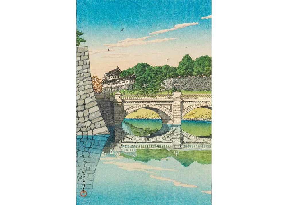 © Kawase Hasui, Nijo Bridge, 1930 Woodblock Print, from the  Museum of Fine Arts, Boston .