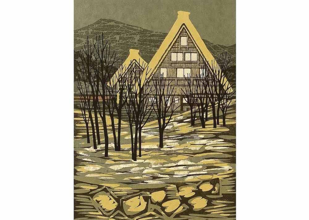 ©Fumio Fujita, Silent Village in Hida, 1973 Woodblock Print