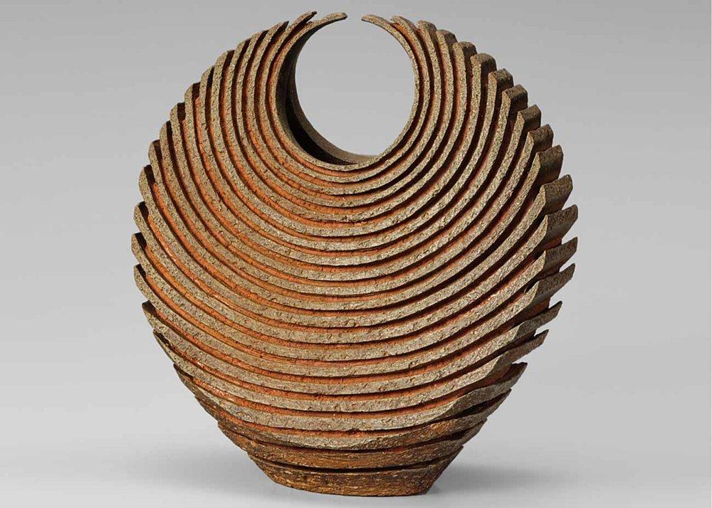 ©Izuru Yamamoto, Tsumiage Kaki, Clay Flower Vase