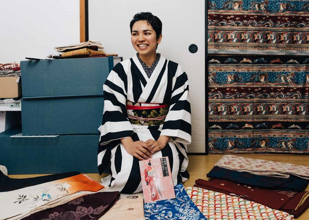 ©Todd Fong, Kimono Closet. Sally in one of her 20 kimono.
