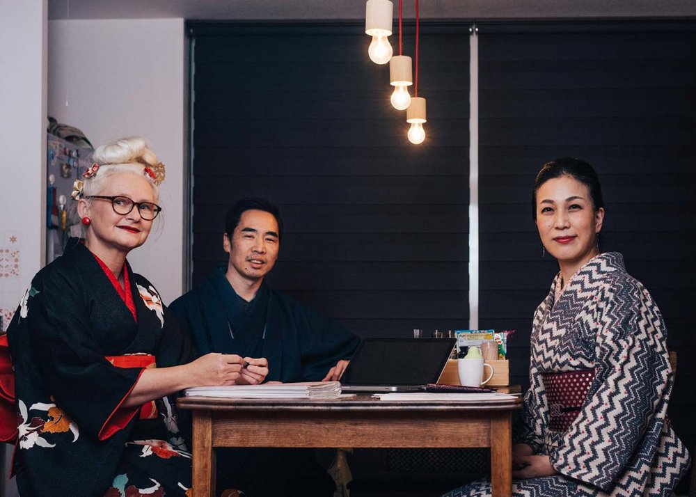 ©Todd Fong, Kimono Closet. Sheila Cliffe working on the Kimono Closet project.