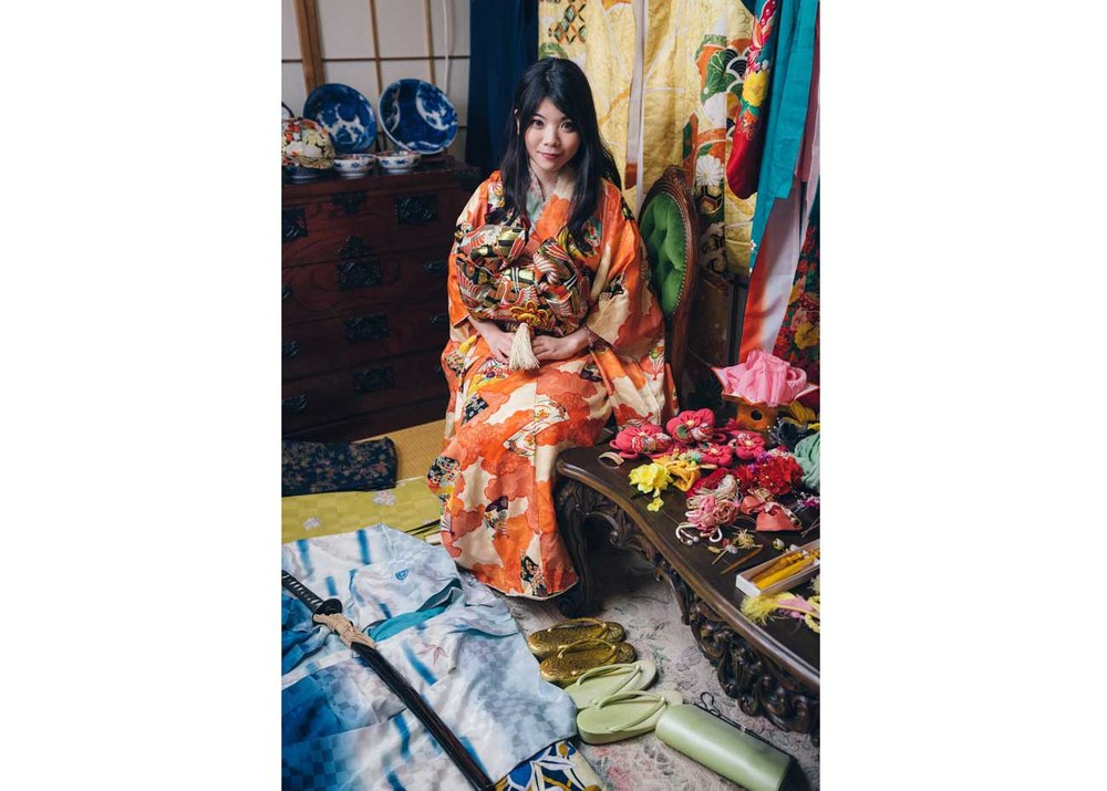 © Todd Fong, Kimono Closet. Rena is a performer who wears her kimono on stage, but also while sightseeing.