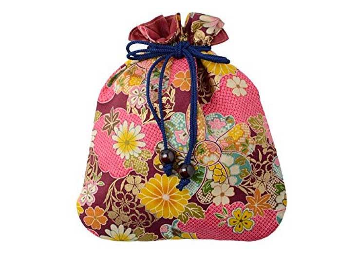 Kimono Fabric Kinchaku Pouch by Sakura