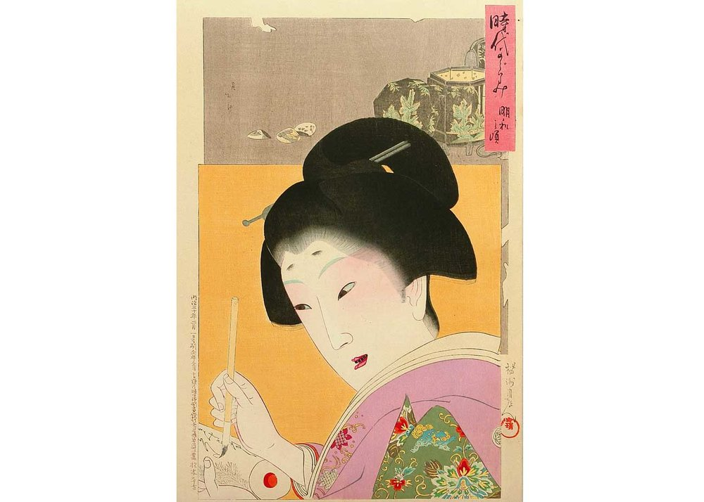 Mirror of the Ages, Meiwa, Woodblock Print by Toyohara Chikanobu, 1897