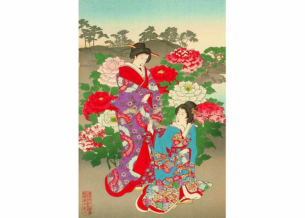 Customs and Manners of Edo, Ladies, Samurai and Sumo Wrestler, Woodblock Print by Toyohara Chikanobu, 1890