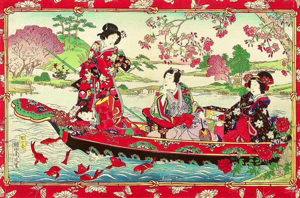 Pleasure Boat, Woodblock Print by Toyohara Chikanobu, 1880s-90s