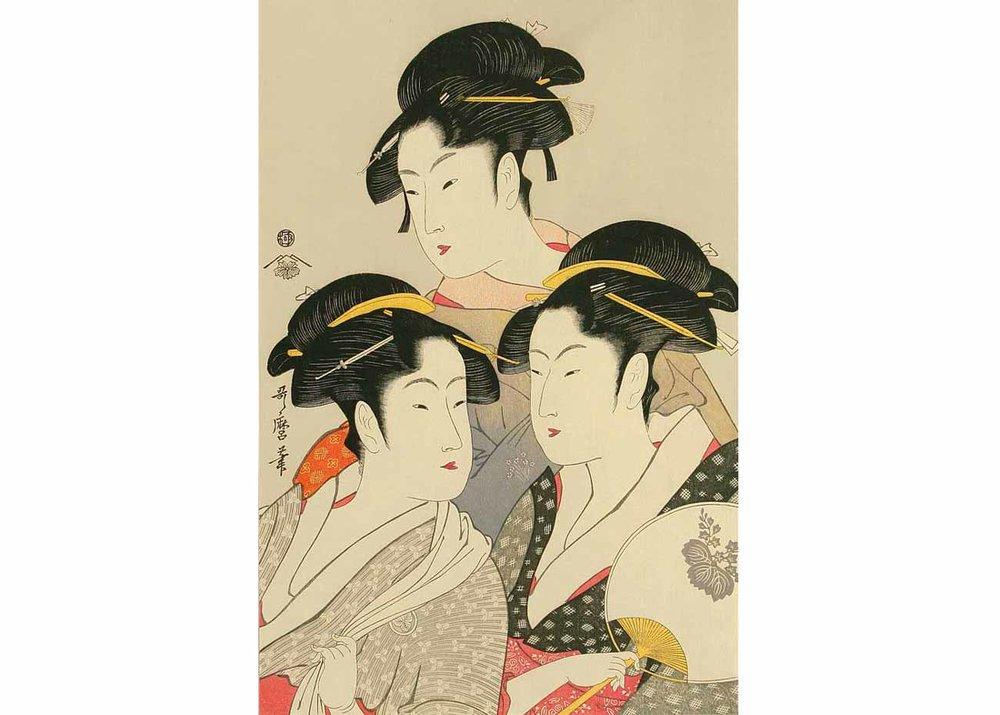 Three Famous Beauties, Woodblock Print by Kitagawa Utamaro