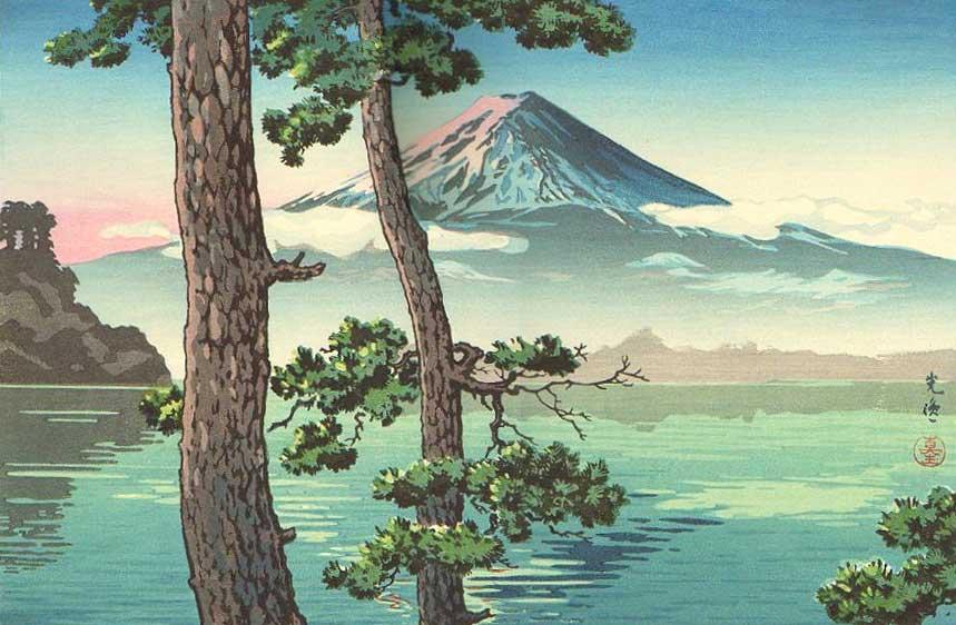Lake Kawaguchi, Woodblock Print by Tsuchiya Koitsu