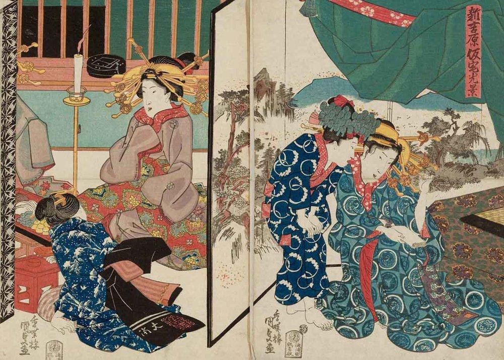 Scene of the Temporary Quarters of the New Yoshiwara, Woodblock Print by Utagawa Kunisada, 1830