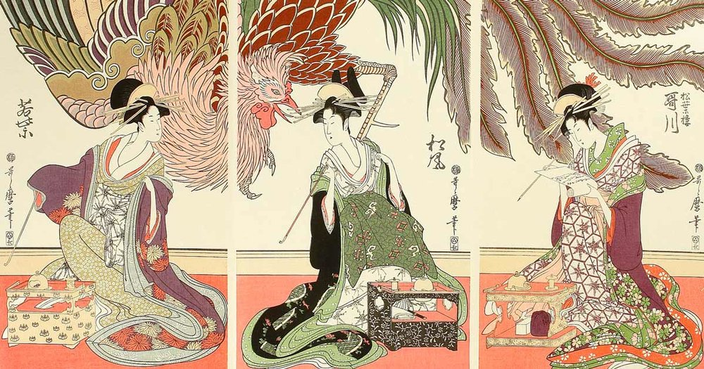 Phoenix and Beauties, Woodblock Print by Kitagawa Utamaro