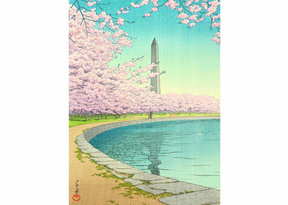 Cherry Blossoms in Washington DC, Woodblock Print by Kawase Hasui