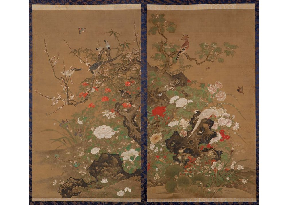 Flowers and Birds of Four Seasons, Pair of Silk Hanging Scrolls