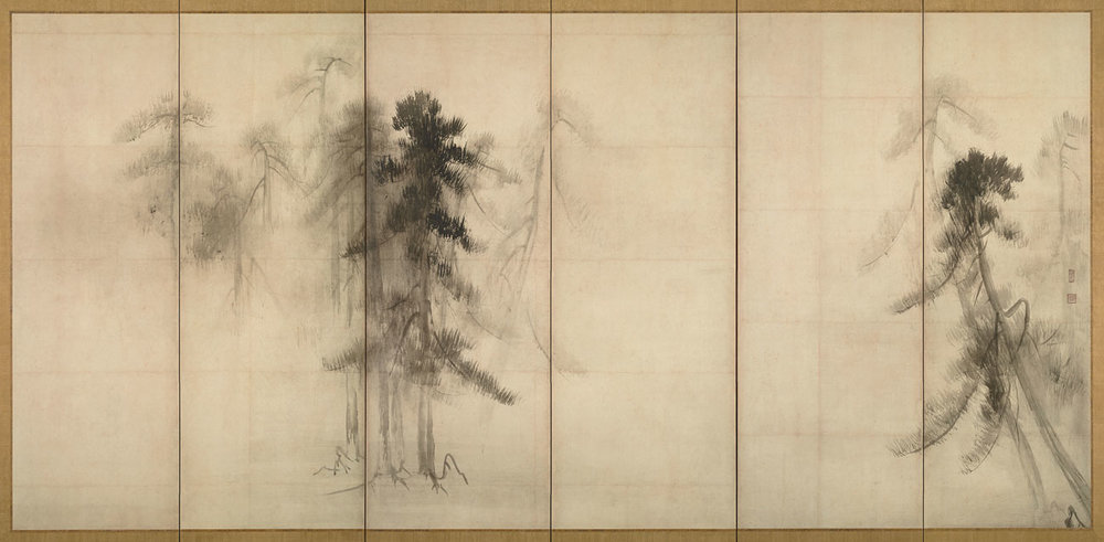 Pine Trees, Silk Screen Painting by Hasegawa Tohaku