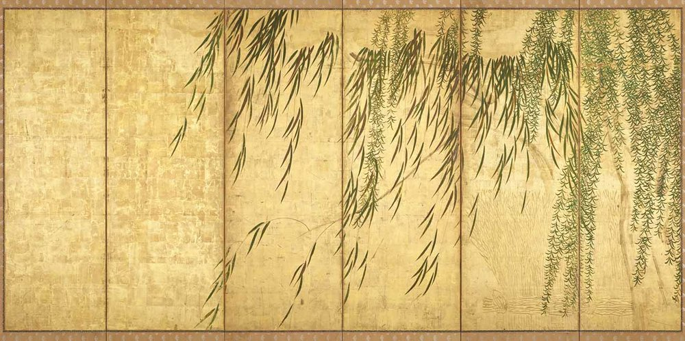 Willows in Four Seasons, Paper Screen by Hasegawa Tohaku