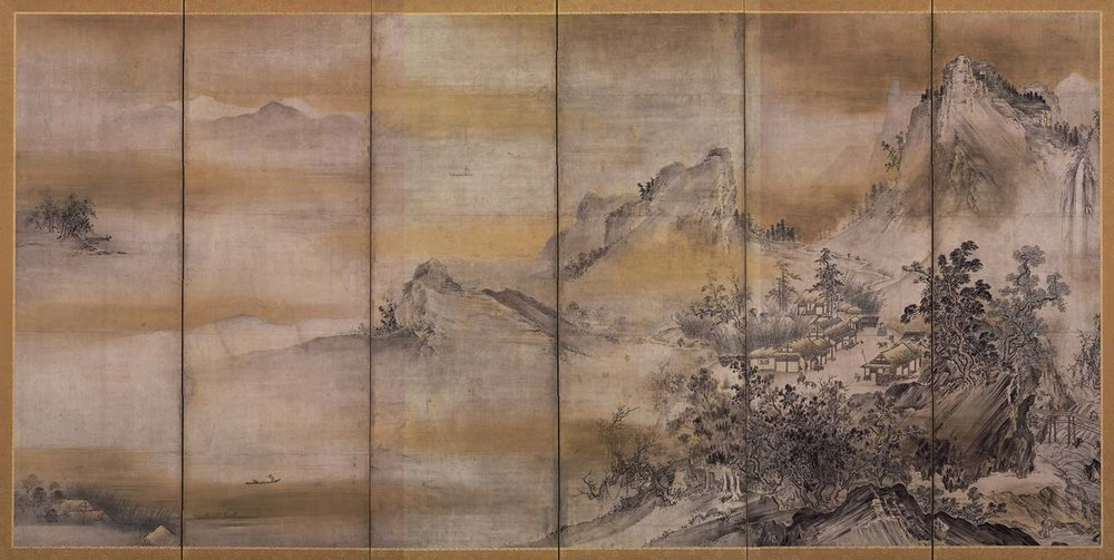 Eight Views of Xiao and Xiang, Silk Screens by Hasegawa Tohaku